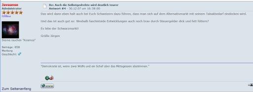 Jürgen Vollmer: Mit Steuerhehlerei gegen zu hohe Tabaksteuern