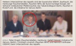 """Der Tabaklobbyist Detlef Petereit beim """"Netzwer Rauchen"""", einer aggressiven Nikotinikerorganisation"""
