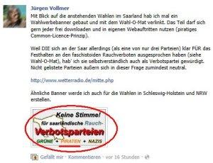 Jürgen Vollmer aus Marburg agitiert gegen seine eigene Partei (Piraten)