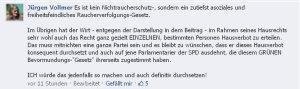 Jürgen Vollmer aus Marburg fühlt sich als Raucher verfolgt