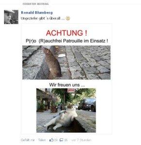 Ronald Blumberg aus Radevormwald vergleicht Rauchgegner mit Ratten