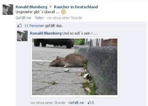 Ronald Blumberg aus Radevormwald  hat Rauchgegner am liebsten tot