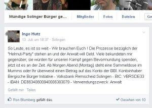 Ingo Hutz bettelt um Geld