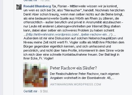 Ronald Blumberg beleidigt durch rechtswidrige Verlinkung
