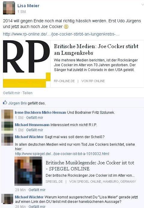 """Jce Cocker stirbt an LUngenkrebs: Reaktionen auf """"Raucher in Deutschland"""""""