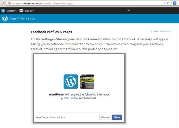 Wordpress verbindet zu Facebook