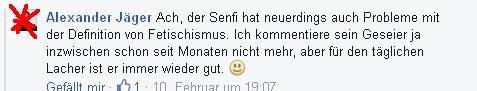Alexander Jäger debattiert über Fetischmismus