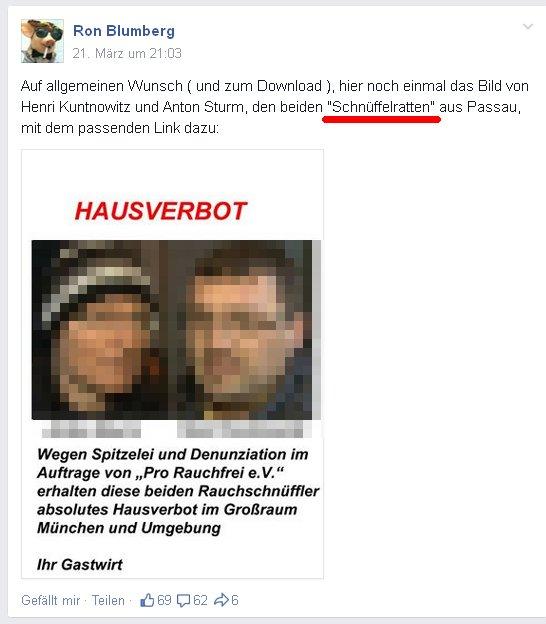 "Ronald Blumberg beleidgt Rauchgegner als ""Schnüffelratten"""