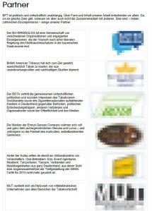 BfT e. V. - Liste der Sponsoren - Tabaklobbyisten inklusive