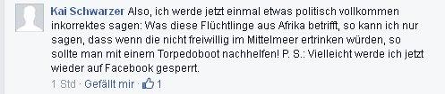 Kai Schwarzer aus Köln hetzt gegen Flüchtlinge
