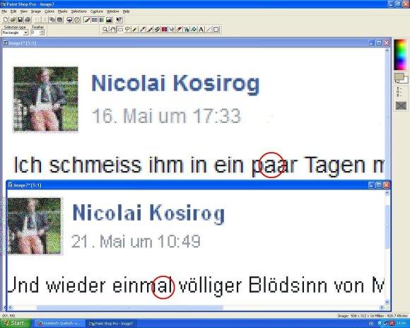 Fakeshot von Nicolai Kosirog - Details (oben der angebliche Beitrag vom 16.05.2015, unten ein Originalbeitrag vom 21.05.2015)