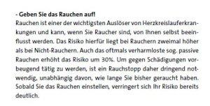 Rauchen als Risiko beim Herzinfarkt (Quelle Westdeutsches Herzzentrum Essen)