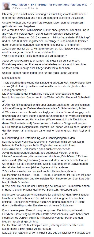 Peter Möstl - Flüchtlingsfeindliche Thesen