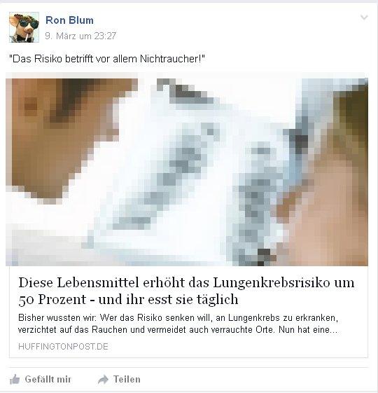 Ronald Blumberg - Der Kampfraucher aus Radevormwald kennt die wahren Ursachen des Lungenkrebs