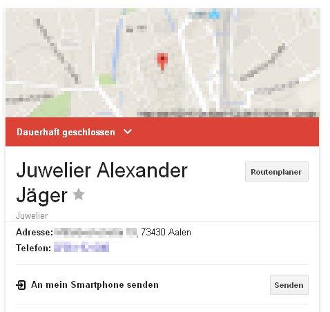 Juwelier Alexander Jäger Aalen - dauerhaft geschlossen