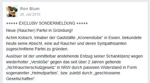 """Ronald Blumberg träumt von einer """"Raucherpartei""""."""