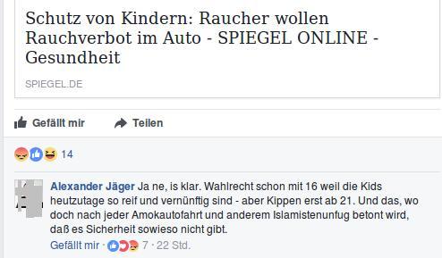"""Alexander Jäger (Aalen) verzapft Unsinn zum Thema """"Rauchverbot im Auto"""""""